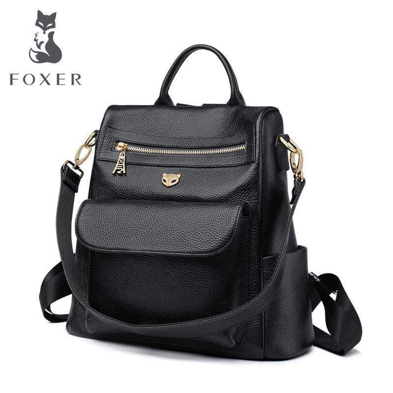 FOXER Brand Travel Large Capacity Skin Backpack Teenage Student School Bag Cow Leather Lady Soft Backpack