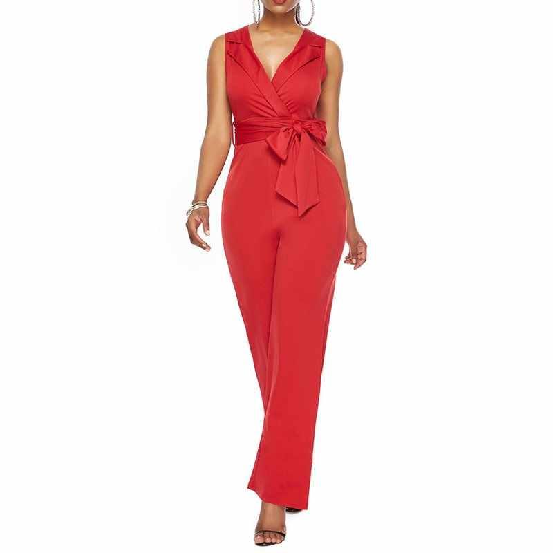 Mono largo de oficina mujer elegante de encaje ajustado cuello en V Sexy Club rojo Casual overol pantalones de pierna ancha negro trabajo mujer Chaquetas