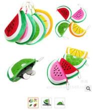 50pcs/lot lint coin velet purse cartoon Women key case cell phone plush bags Fruits Shape small bag 14.5*9cm
