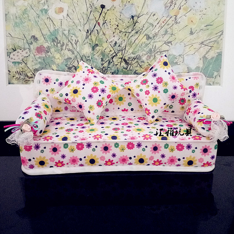 2017 New Small Floral Fabric Sofa Set Furniture For Barbie