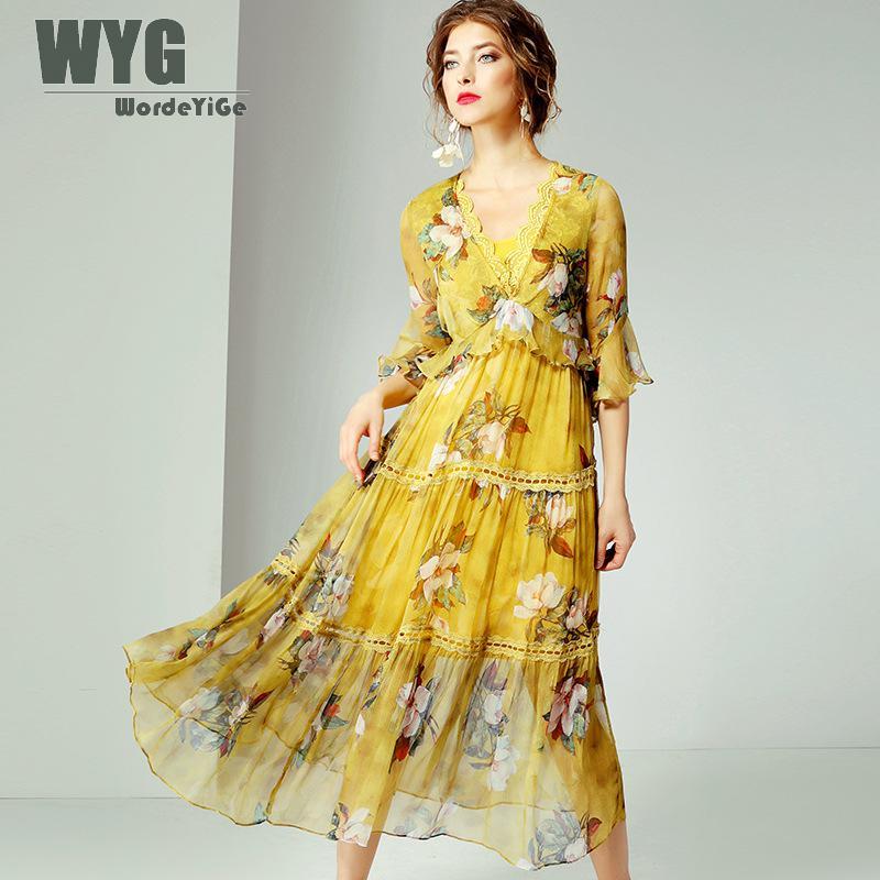 Robes bohème été 2019 nouvelle haute qualité dentelle Patchwork v-cou Flare manches 100% soie naturelle dames jaune robes de plage