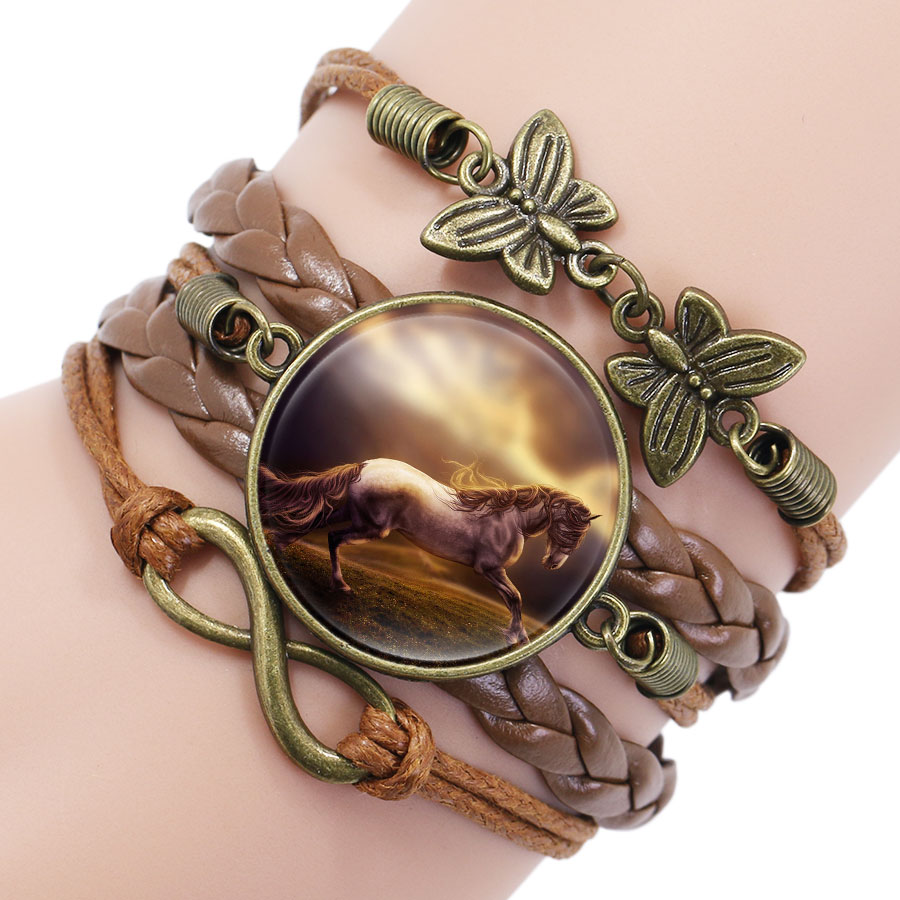 Vintage Horse Picture Bronze Leather Butterfly Charms