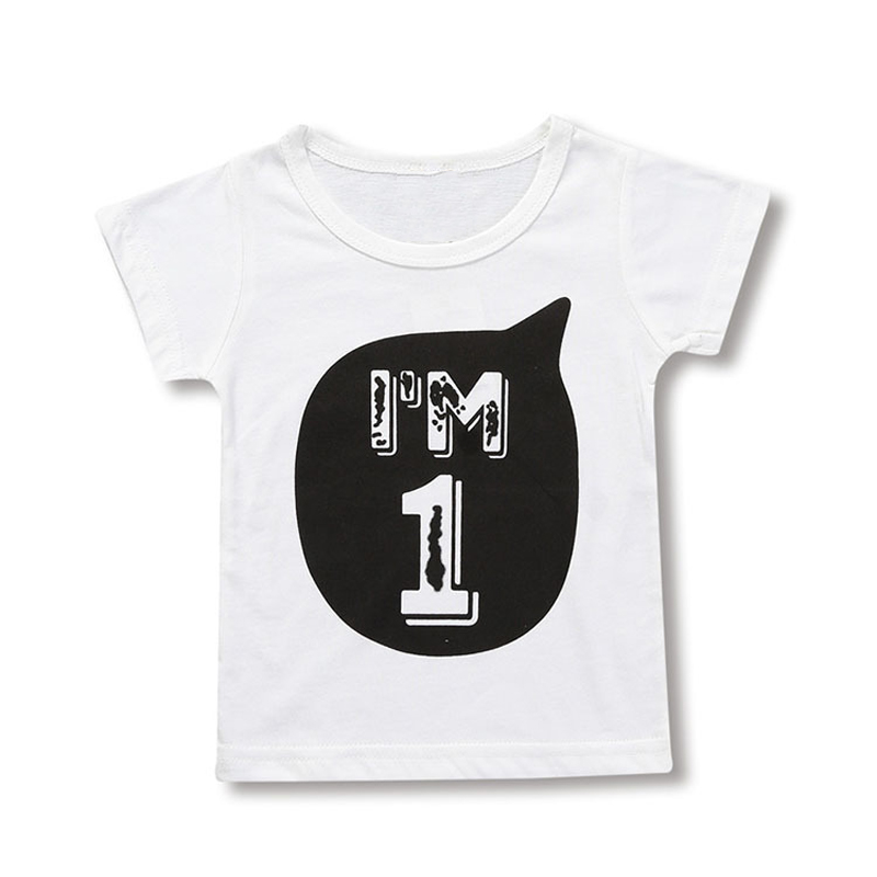 SAILEROAD I AM 1 2 3 4 5 6 Letter Children's t-shirts for Girls Boys Short Sleeve Shirts Summer Kids Tops Tees Clothing 4