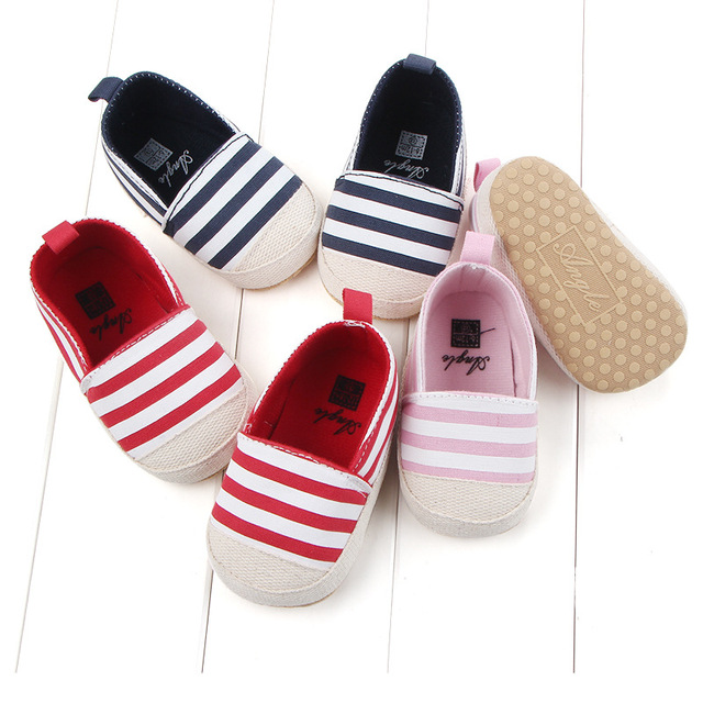 2019 Fashion Blue Striped Baby Boys Baby Girls Shoes Lovely Infant First Walkers Cute Soft Sole Toddler Baby Shoes Hot Sale 2