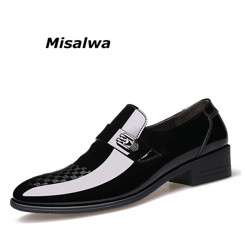 Misalwa Men Derby Patent Leather Shoes Formal Wedding Business Dress Shoes Black Luxury Brand Pointed Toe Oxford Shoes For Men pointed toe dress shoes mens patent leather black shoes wedding dress oxford shoes for men designer version luxury prom shoes