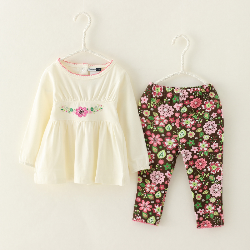 2017 Spring/Autumn Children Clothing Suits Baby Girl Toddler Print Flowers Cute Kids Casual Suit