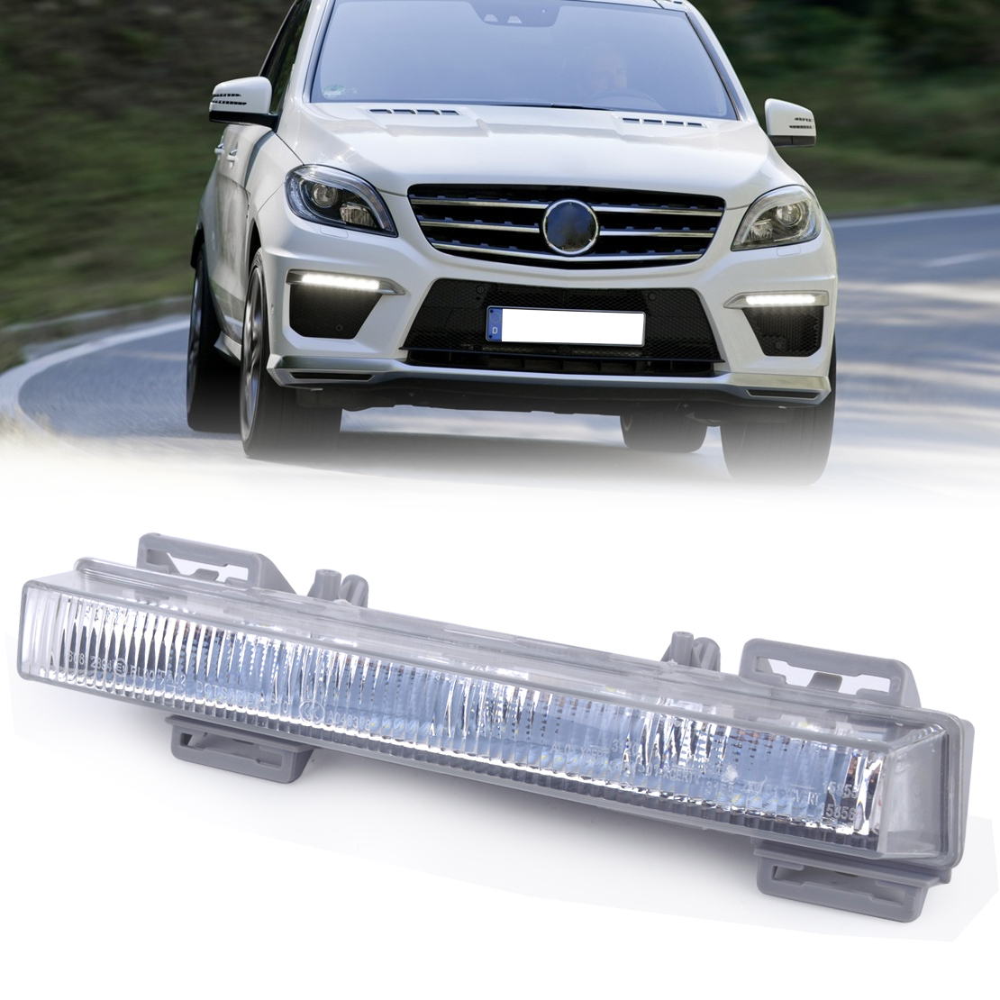 beler 1pc Front Left side LED Daytime Running Light Driving Lamp for Mercedes Benz W166 ML350 ML500 ML550 X204 GLK250 2049065401 front fog light for mercedes benz w163 ml270 ml230 ml320 ml400 ml350 ml500 ml430 ml55