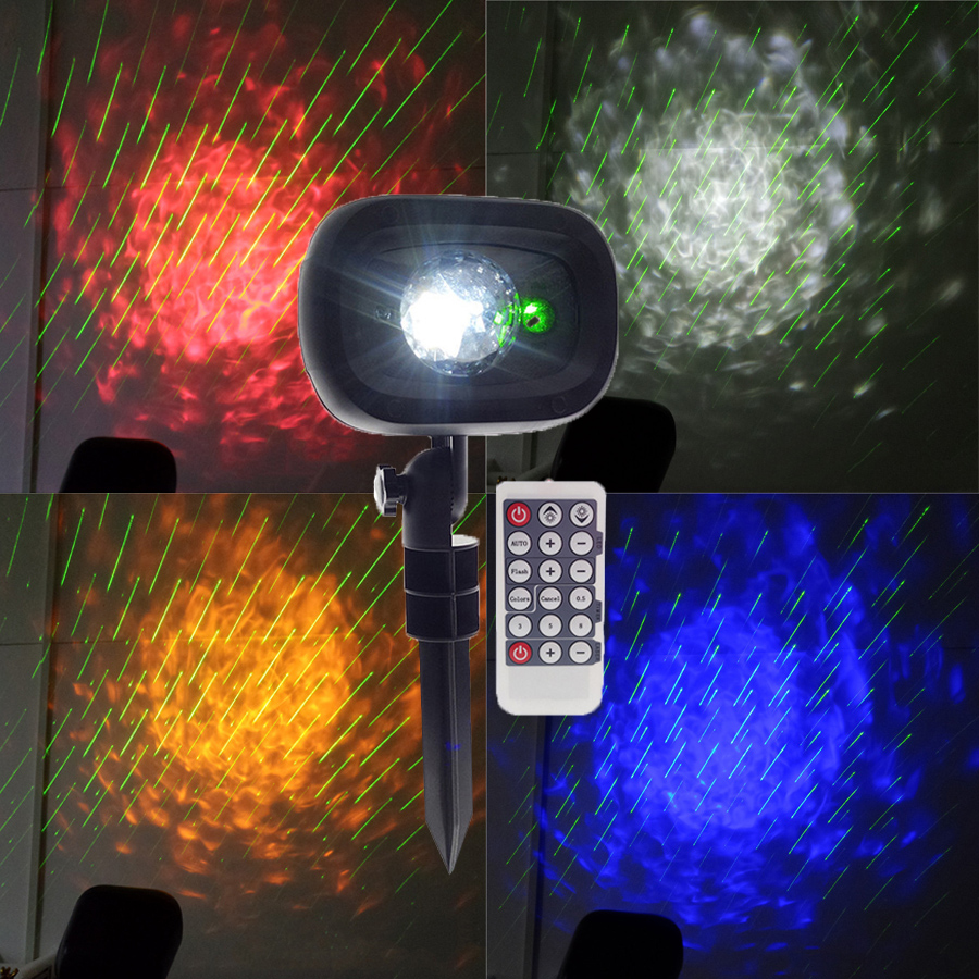 BEIAIDI Meteor Shower Rain Laser Light With Water Wave Ripple Disco Stage Light Outdoor Wedding Party Christmas Tree Laser Light