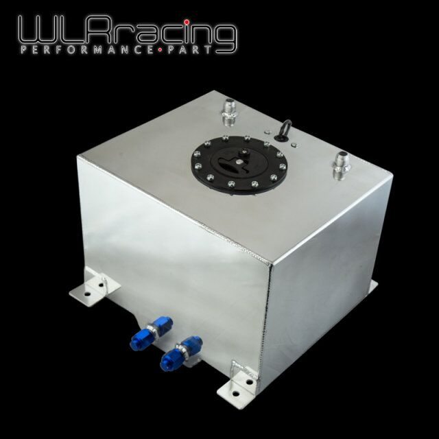 WLR RACING 30L Aluminium Fuel Surge tank mirror polish Fuel cell with cap foam inside with
