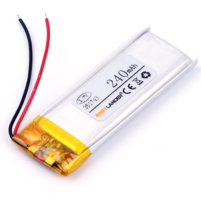351743 3.7V 240mAh Rechargeable li Polymer Li-ion Battery For pen MP3 MP4 Game Player speaker toys bluetooth headset 351645