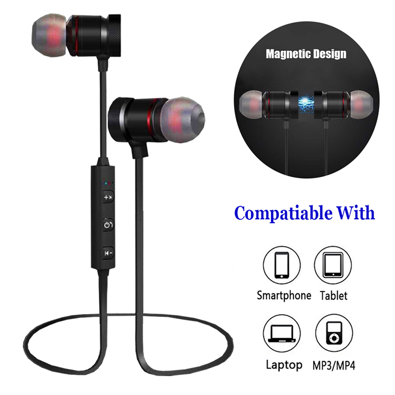 Magnetic Head V4.1 Bluetooth Earbuds In-ear Earphone Wireless Sport Music Headset For iPhone Samsung Xiaomi Huawei Android phone