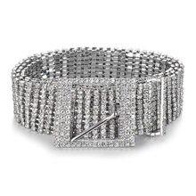 Fashion luxury women s rhinestone belt female ten row bright bride wide  bling crystal diamond waist chain belt rhinestones 07 4159b22f2b17