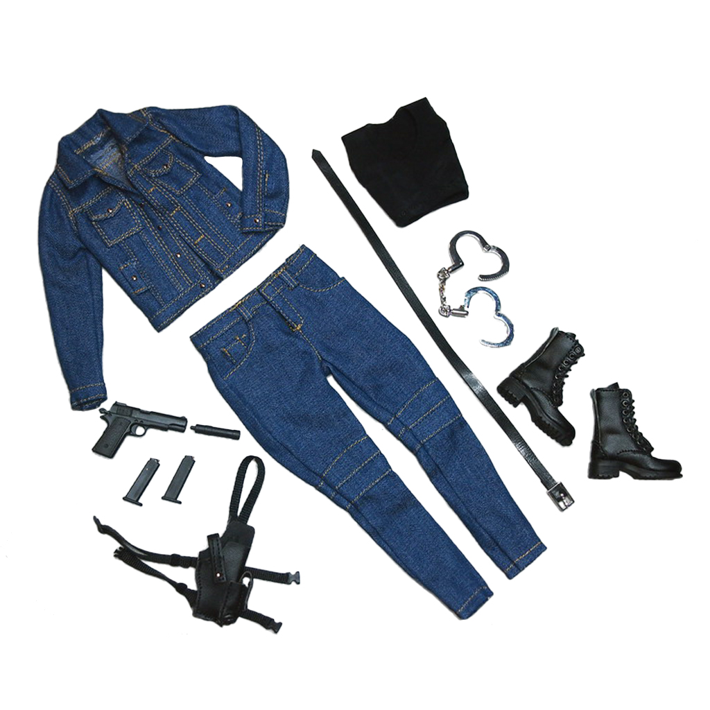1/6 Scale Female Coat Jeans Clothes Boots Set for 12 Action Figure Widow Suit Military Low Heel Lace Up Combat Boots Accessory
