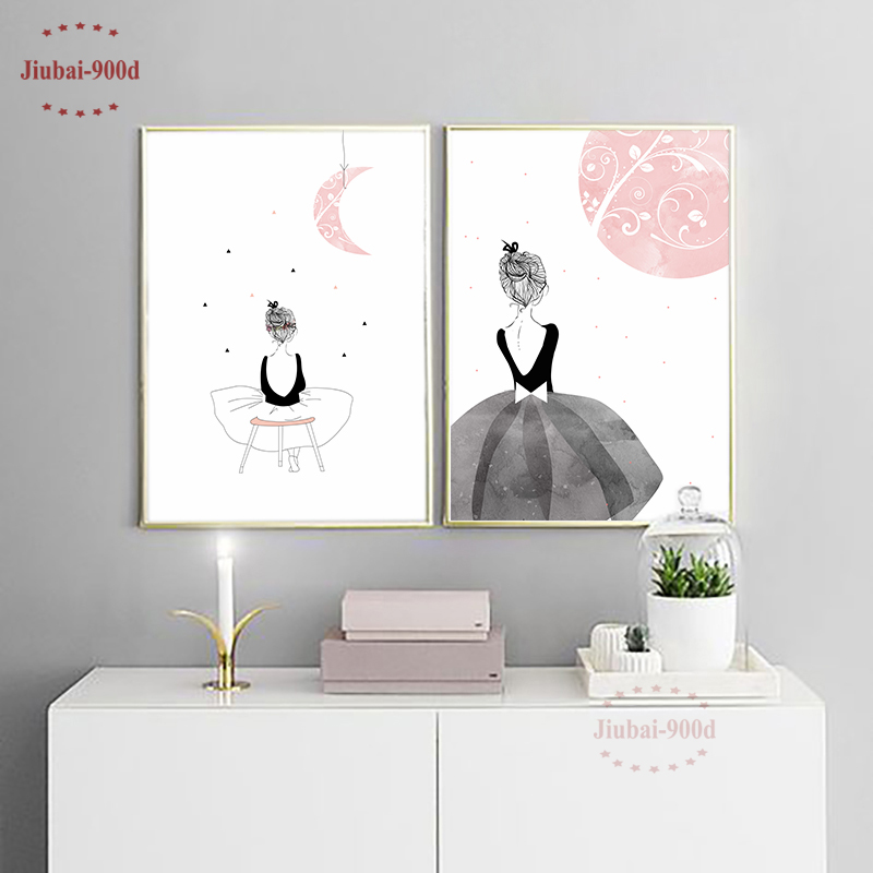 Watercolor Girls Canvas Art Print Painting Poster Wall