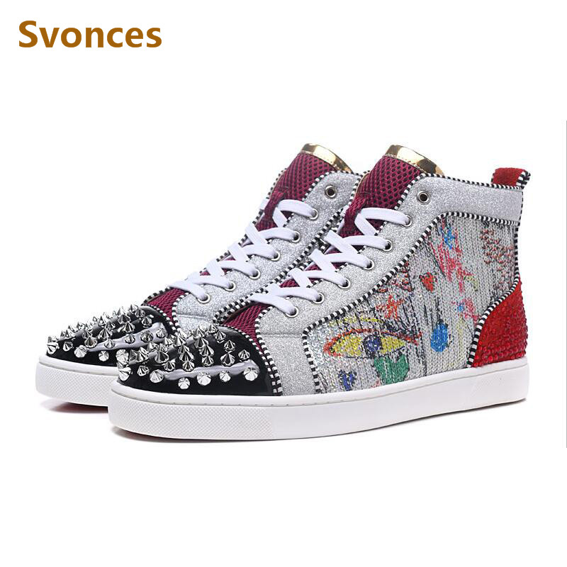 Newest Graffiti Unisex Sneaker Gold Silver Rivets Spikes Crystal High Top  Lace-up Mens Boots 082d93253423