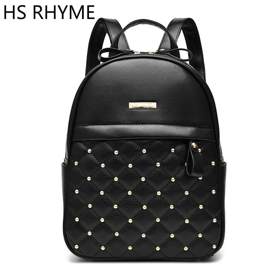 HS RHYME Diamond Lattice Women Rivet Backpack PU Leather Mochila Escolar School Girls Bags Top handle