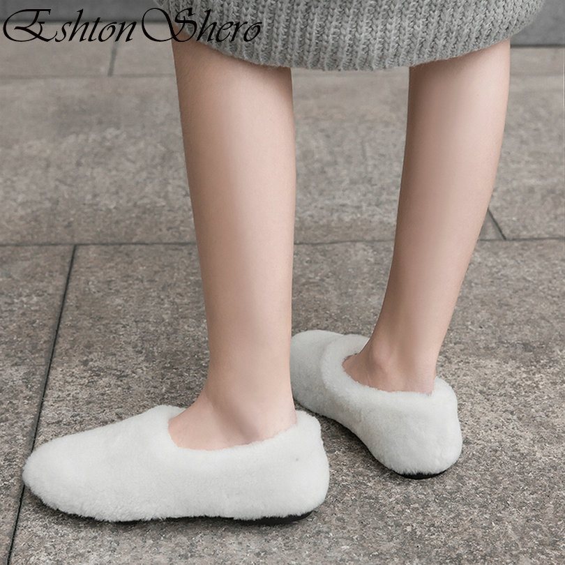 EshtonShero Shoes Women Snow Boots Woman Fur+Plush Flat Heels Fur-lined Winter Round Toe Warm White Ladies Ankle Boots Size 3-8 faux fur lined flat ankle boots