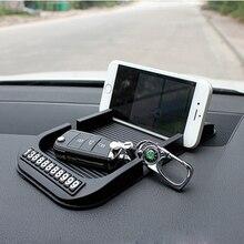 Alfombrilla antideslizante para salpicadero de coche, con número de teléfono celular, gel de sílice, almohadilla antideslizante automática para toallas de papel, GPS, accesorios para automóvil