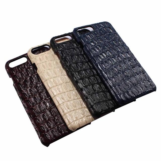 Casos de telefone para apple iphone 7 4.7 case moda padrão crocodilo genuíno couro de couro original capa para iphone 7 plus