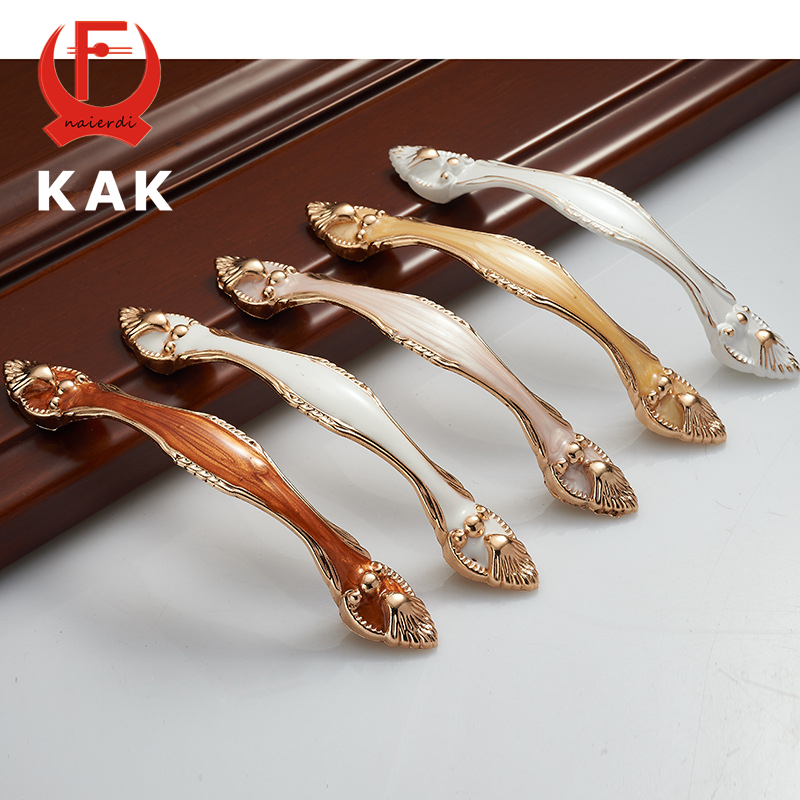KAK 5PCS Aluminium Alloy Amber Wardrobe Door Handles wholesale 96MM Drawer Cupboard Handles Pull Knobs Pastoral Furniture Handle