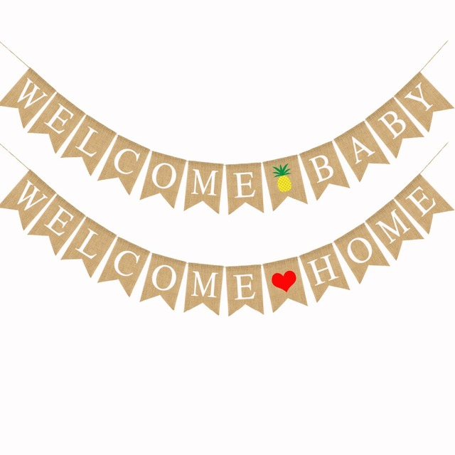 welcome home welcome baby burlap banner baby shower flag banner pregnancy reveal photo prop for kids