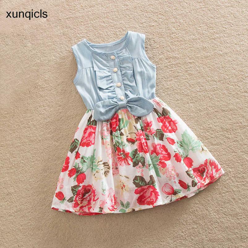 00753a422a88 2-10Y Girl Dress 2018 Children Sleeveless Denim Floral Dresses Summer Kids  Princess Vestido Children