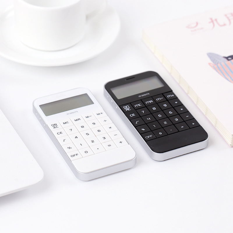 Smart Phone Style Arithmetic Calculator Coin Batteries Pocket Calculator Stationery Calculators Portable For School Meeting