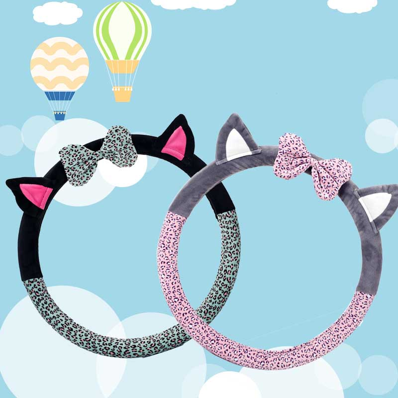 Cute Cat Ear Steering Wheel Cover Short Plush Winter Car Steering Wheel Covers For Girls Leopard Steering-Wheel Covers Case vintage leather steering wheel cover flower printing women s car steering wheel covers for girls car steering accessories