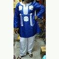Frete grátis nova africano bazin bordado vestidos de design top com calças