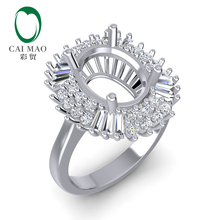 Caimao 7.5x10mm Oval Cut 14k White Gold 0.59ct Baguette&Round cut Diamond Prong Wedding Semi Mount Ring