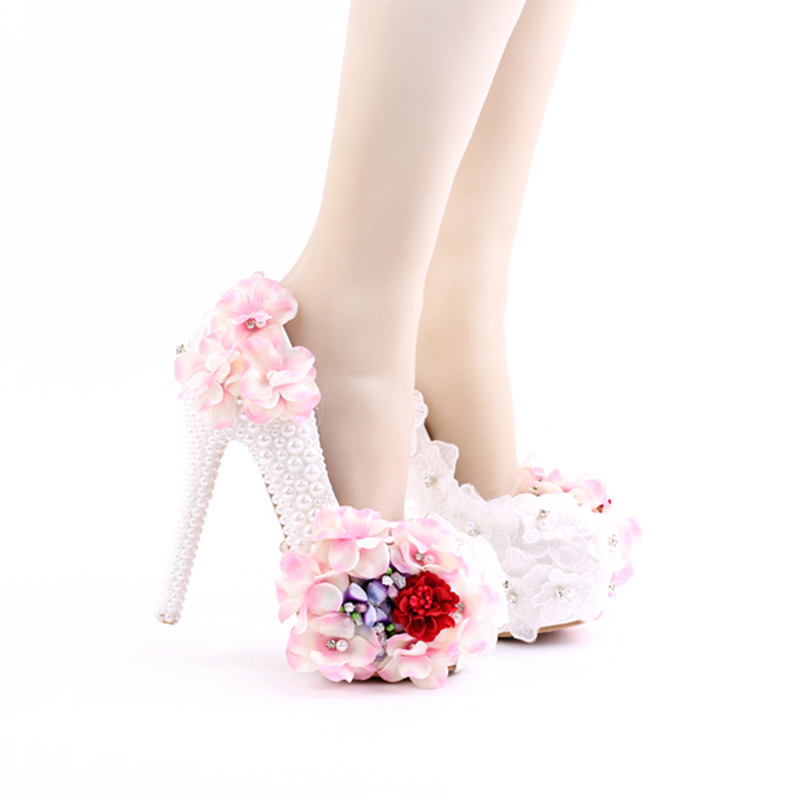 2017 Beautiful Lace Pink Flower Bridal Wedding Shoes White Imitation Pearl Party Prom High-Heel Nightclub Stiletto Banquet
