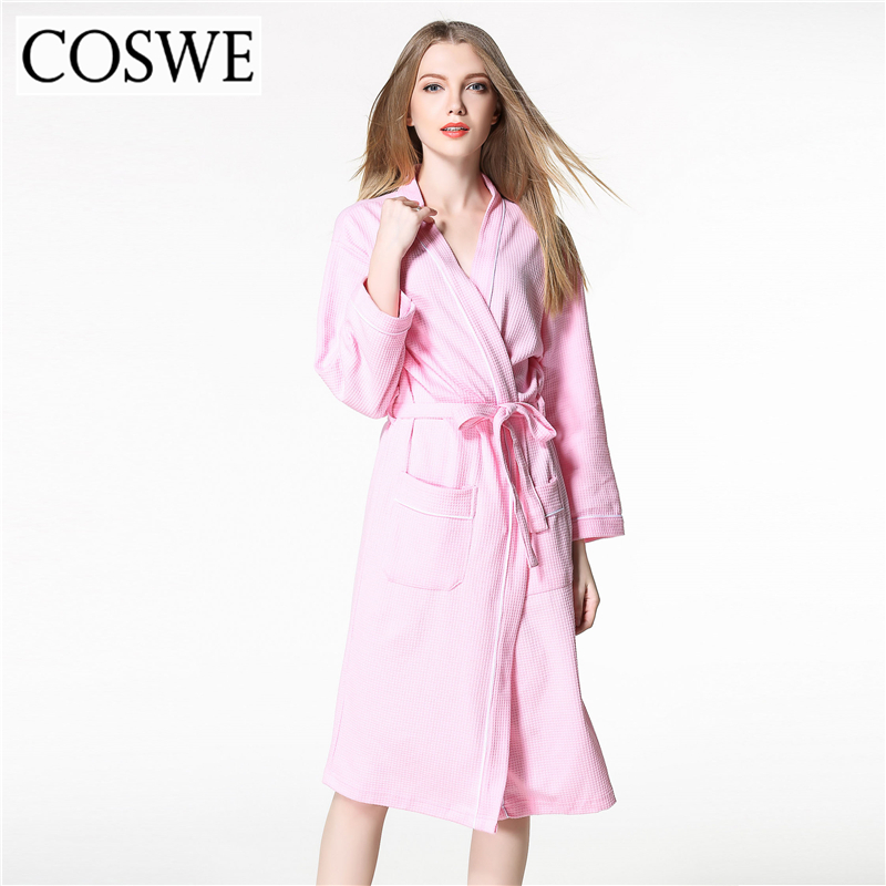 COSWE Cotton Robe Bathrobe Black Loose Robes For Womens White Pink Plus Size Women Bath Robe Dressing Gowns Spa Hotel Wholesale