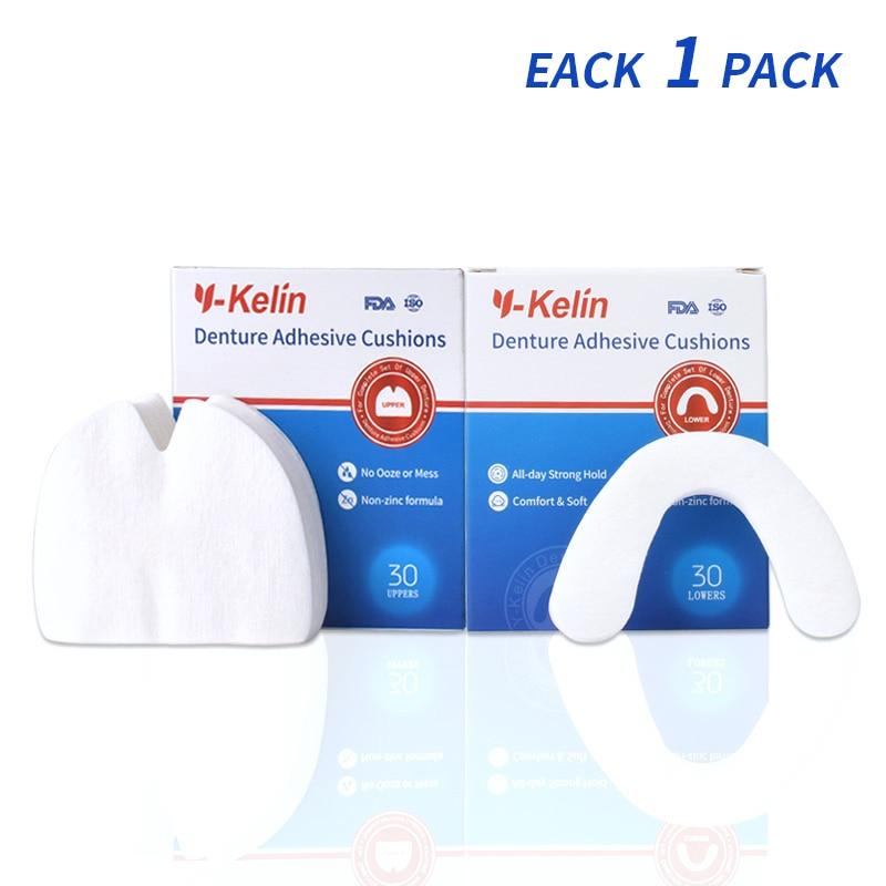 Y-Kelin Denture Adhesive Cushion Upper 30 Pads +Lower 30 Pads Denture Strip Denture Pads Strong Comfort Hold