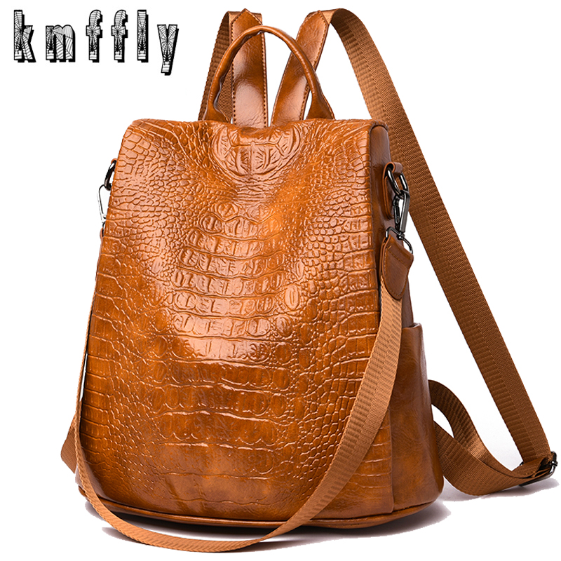 Alligator PU Leather Women Backpack Anti-Theft Casual School Backpack For Teenager Girls Large Capacity Multifunction Backpack