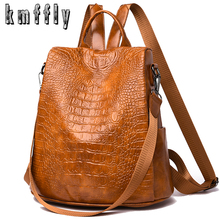 Alligator PU Leather Women Backpack Anti Theft Casual School Backpack For Teenager Girls Large Capacity Multifunction Backpack