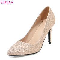 QUTAA 2018 Women Pumps Pointed Toe Pu Leather Thin High Heel Casual Sexy Red Spring/ Autumn Bling Wedding Pumps Size 34 43