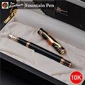 Alta Qualidade Picasso 10 k Golden Fountain pen 0.5mm tinta Papelaria canetas canetas Caneta de metal cheia de luxo com presente caixa de 1038