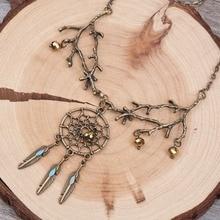 DoreenBeads New Fashion Vintage Necklace Link Cable Chain Antique Bronze Glass Orange Beads Branch Dreamcatcher Pendant