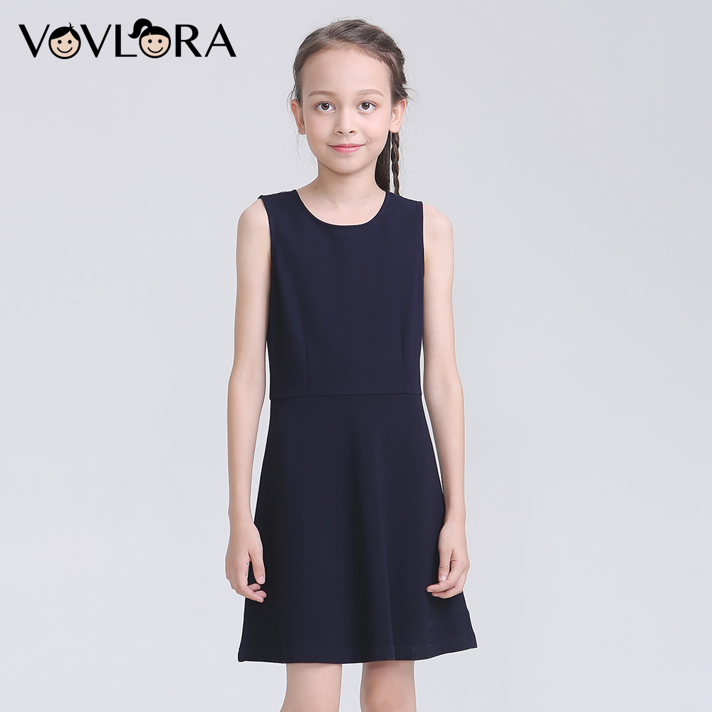 Sleeveless O Neck School Kids Dresses For Girls Solid Lace Knitted Girls Dress 2018 School Uniform Size 7 8 9 10 11 12 Years fashion spring summer women sexy hollow design rivet trim solid color o neck sleeveless ladies knitted dress mini sweater dress