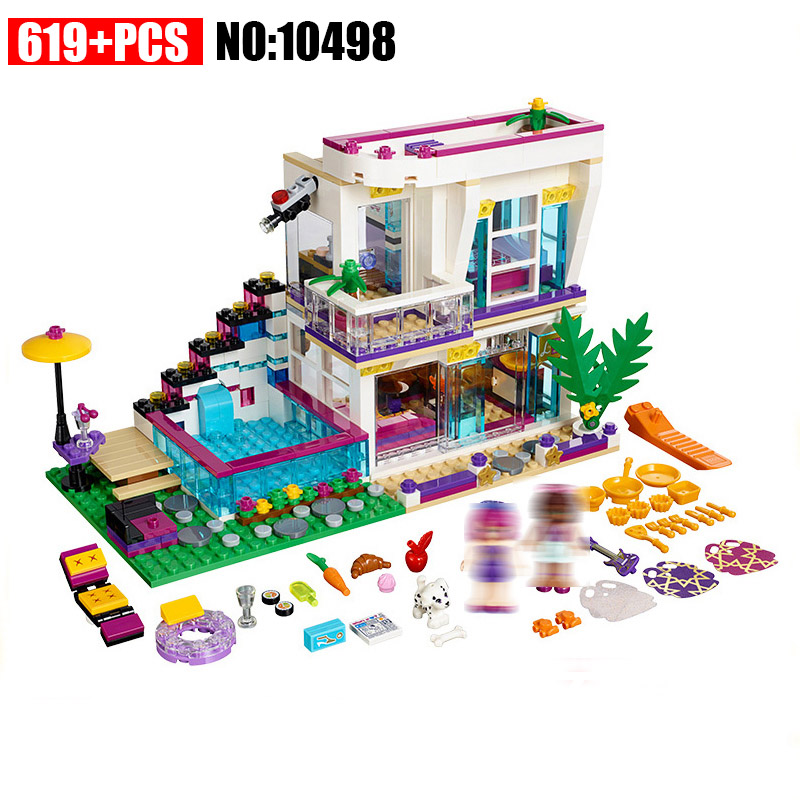 10498 619Pcs Friends Series Livi\'s Pop Star House Girl Building Blocks set Compatible 41135 DIY Bricks Toys for Children 50pcs starwars superhero building the roman soldiers blocks bricks friends for girl boy jenga house games children toys