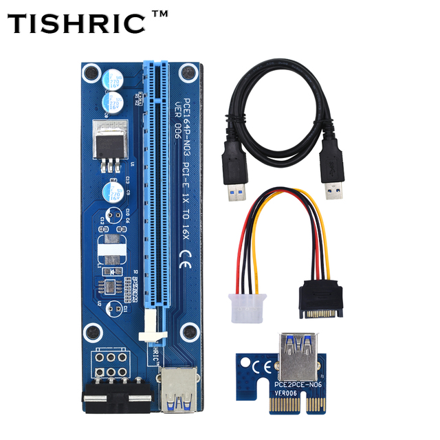 TISHRIC Ver006 Pci-e Extender PCIE Pci Express Riser Card 1x To 16x Usb3.0 Cable Sata To 4pin Molex For Bitcoin Mining Miner