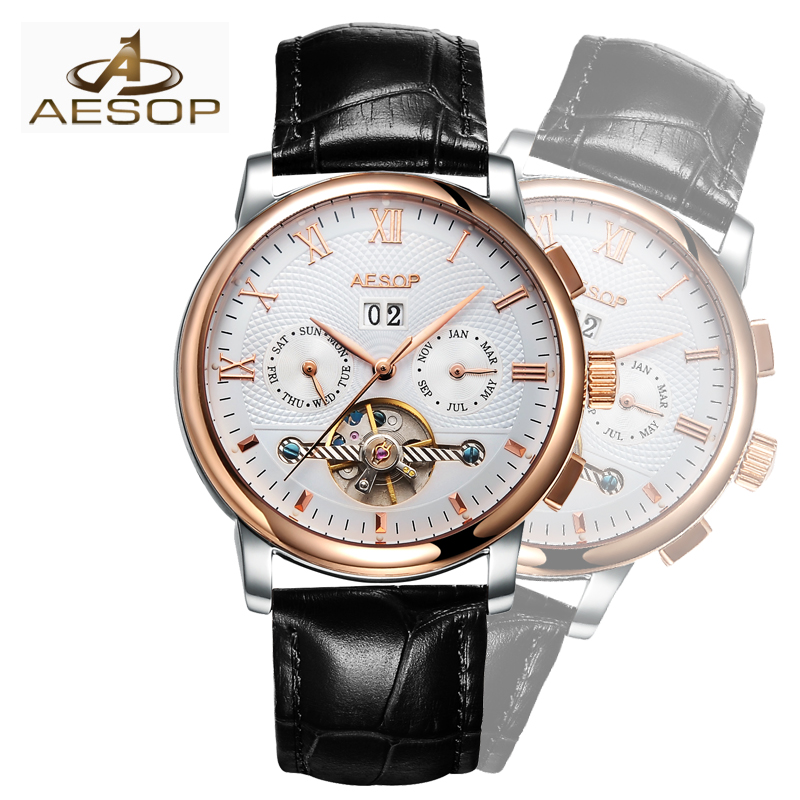 все цены на AESOP Luxury Brand Watch Men Business Waterproof Clock Mens Watches Fashion Casual Sport mechanical Wristwatch Relogio Masculino