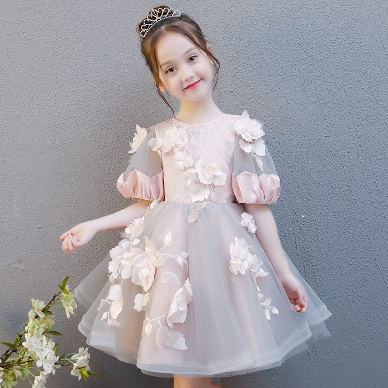 Retro Flower Girl Dress for Wedding Short Sleeve Floral Girls Formal Dress Ball Gown Holy Communion Dress Princess Birthday Gown free shipping 2015 brand fashion new arrival summer girls embroider dress girls short sleeve princess flower ball gown hot sale