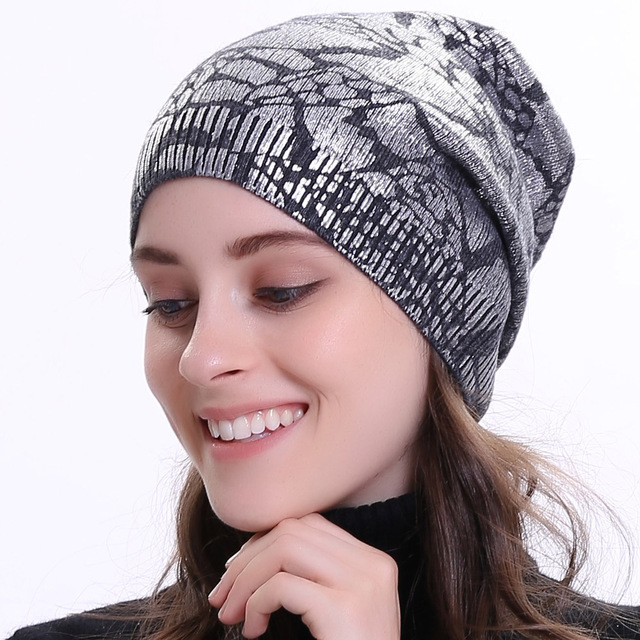 4f38f461e14b2 Geebro Women s Metallic Color Beanie Hat Spring Single layer Knit Cashmere  Hats Wool Slouchy Beanies for Femme Bronzing Skullies