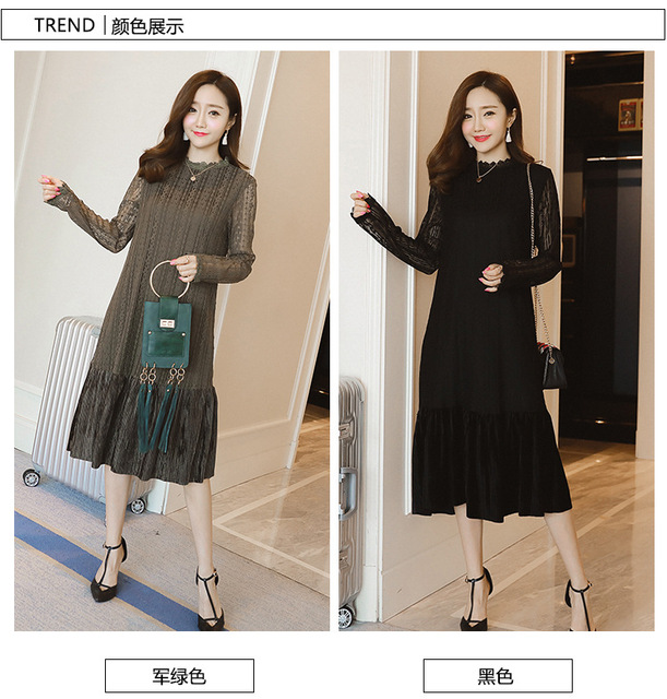 cf0c62c2bf9 2017 spring new Korean fashion maternity dress loose long sleeves collar  long lace pregnant women dress