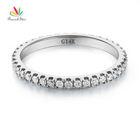 Peacock Star 14K White Gold Stackable Wedding Band Ring Eternity 0 42 Ct Natural Diamonds