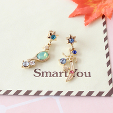 Free shipping fashion ladies jewelry artificial gemstones decorated long personality asymmetric girls earrings Popular new