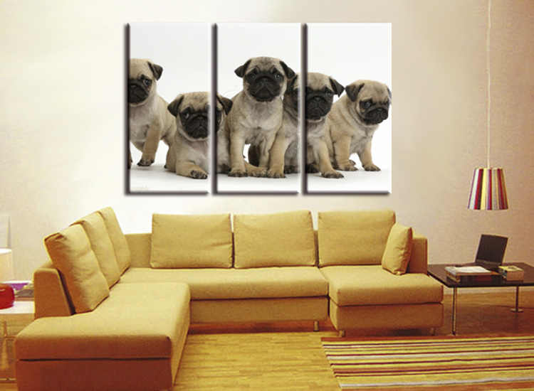 3 pieces / set High-definition modern abstract Fashion Five Animal Dog Canvas Big Print Poster Wall Picture Home Decor Painting