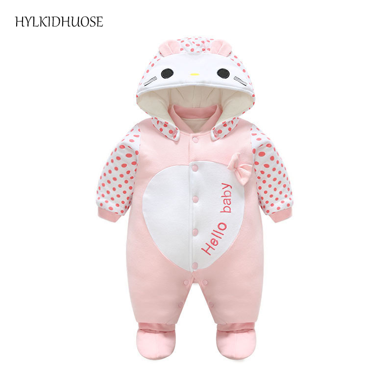 HYLKIDHUOSE 2017 Baby Girls Winter Rompers Cartoon Infant/Newborn Cotton Rompers Warm Outdoor Casual Children Kids Jumpsuits cotton baby rompers set newborn clothes baby clothing boys girls cartoon jumpsuits long sleeve overalls coveralls autumn winter