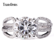 TransGems 3 Carat F Colorless Lab Moissanite Engagement Anniversary Ring Real Diamond Accents 14K White Gold Women